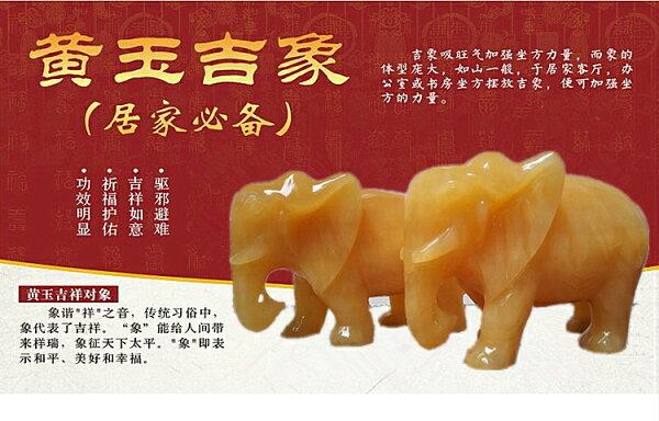 美琪(高當擺飾)天然米黃玉大象客廳鎮宅招財玉石玉雕風水象預購7天+現貨