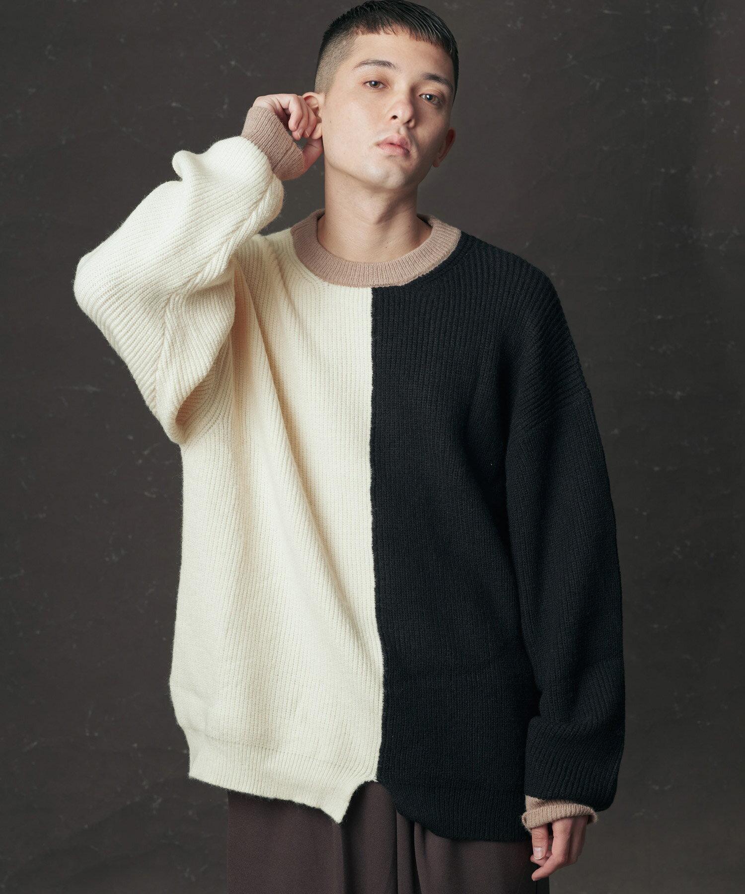 【滿1320現折120 領券再折120】【Nilway】不對襯雙色拼接毛衣