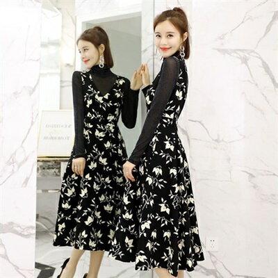 連身裙長袖洋裝(兩件套)-唯美印花收腰修身女裙裝73ri32【獨家進口】【米蘭精品】