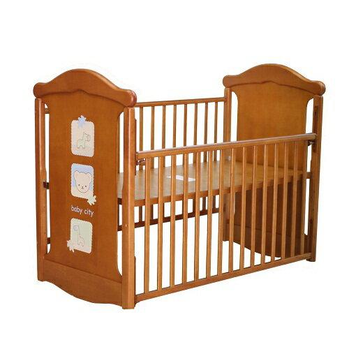 Baby City娃娃城 - 動物熊搖擺中床(柚木色) + 動物熊七件式被組(藍/粉) 附泡棉床墊 1