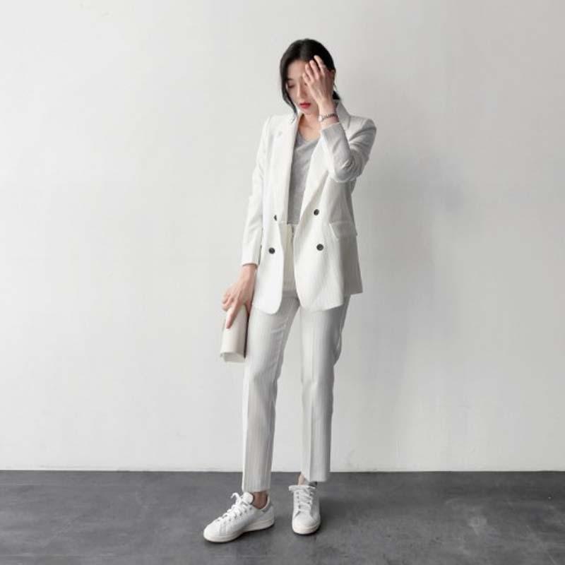 西裝套裝西裝外套+長褲(兩件套)-寬鬆條紋休閒百搭女西服5色73xs11【獨家進口】【米蘭精品】