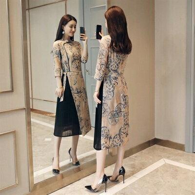 連身裙七分袖洋裝-立領雪紡假兩件中國風女連衣裙2色73ri20【獨家進口】【米蘭精品】