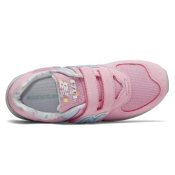Shoestw【YV574KCR】NEW BALANCE NB574 運動鞋 黏帶 中童鞋 Wide 粉水藍 小花 2