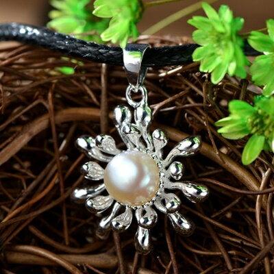 ~925純銀項鍊 珍珠吊墜~民族風格典雅 母親節情人節生日 女飾品73hi15~ ~~米蘭