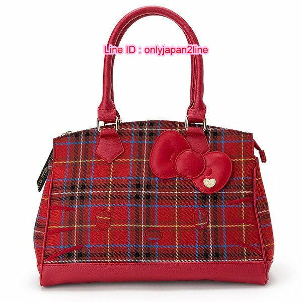 【真愛日本】16111000022專賣店限定英國KT格子紅托特包  三麗鷗 Hello Kitty 凱蒂貓   斜背包 手提包