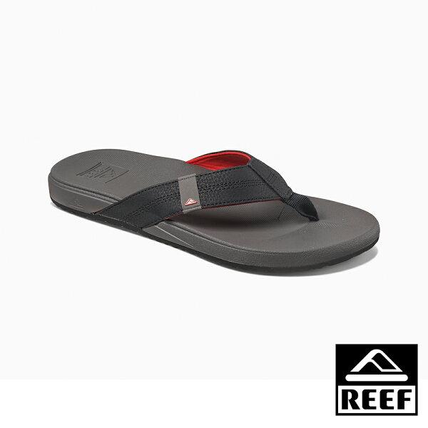 【新品9折↘】REEF能量彈力系列最適合亞洲人腳型側邊縫製織帶舒適好穿防滑耐磨男款升級版夾腳拖人字拖鞋.灰紅RF0A3FDIGRD