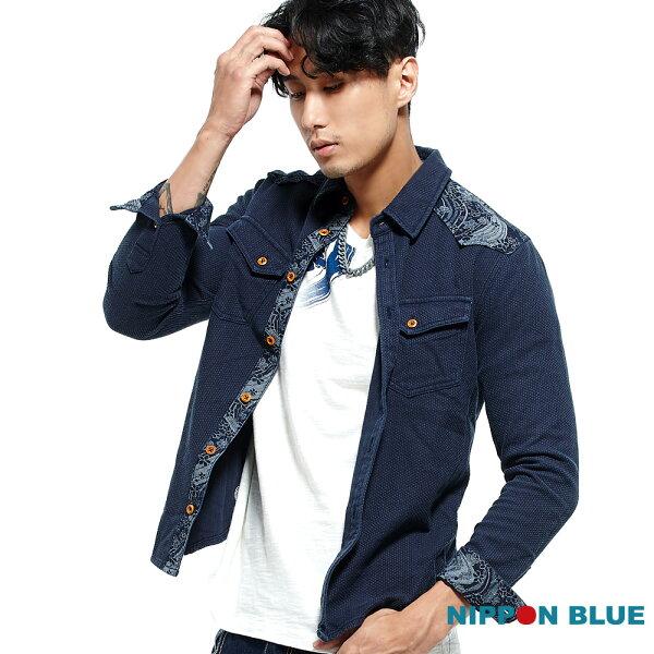 【專櫃新品免運↘】日本藍和柄INDIGO長袖襯衫-BLUEWAYNIPPONBLUE日本藍
