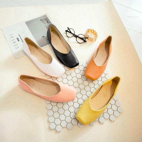 Pyf♥新款氣質工作鞋素面復古舒適休閒簡約方頭淺口平底鞋48大尺碼女鞋