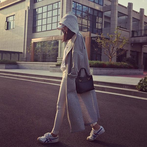 超長版 連帽 外套 棉 彈性 寬鬆 顯瘦 運動 休閒 大口袋 外搭 夾克 風衣 百搭 黑灰 韓 ANNA S.