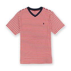 美國百分百【Ralph Lauren】T恤 V領 RL 短袖 T-shirt Polo 條紋 小馬 男女 紅白 XS號 青年版I094