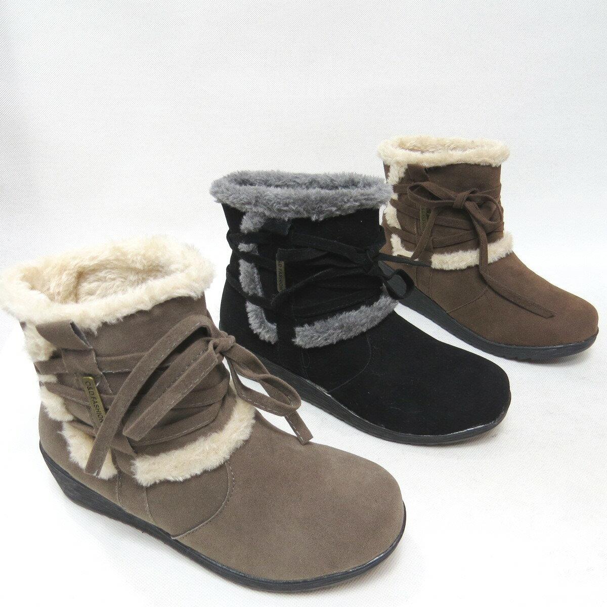 *免運*短靴 韓風內裡舖毛楔型跟保暖踝靴11-8055(灰/黑/咖)*[彩虹屋]* 現+預
