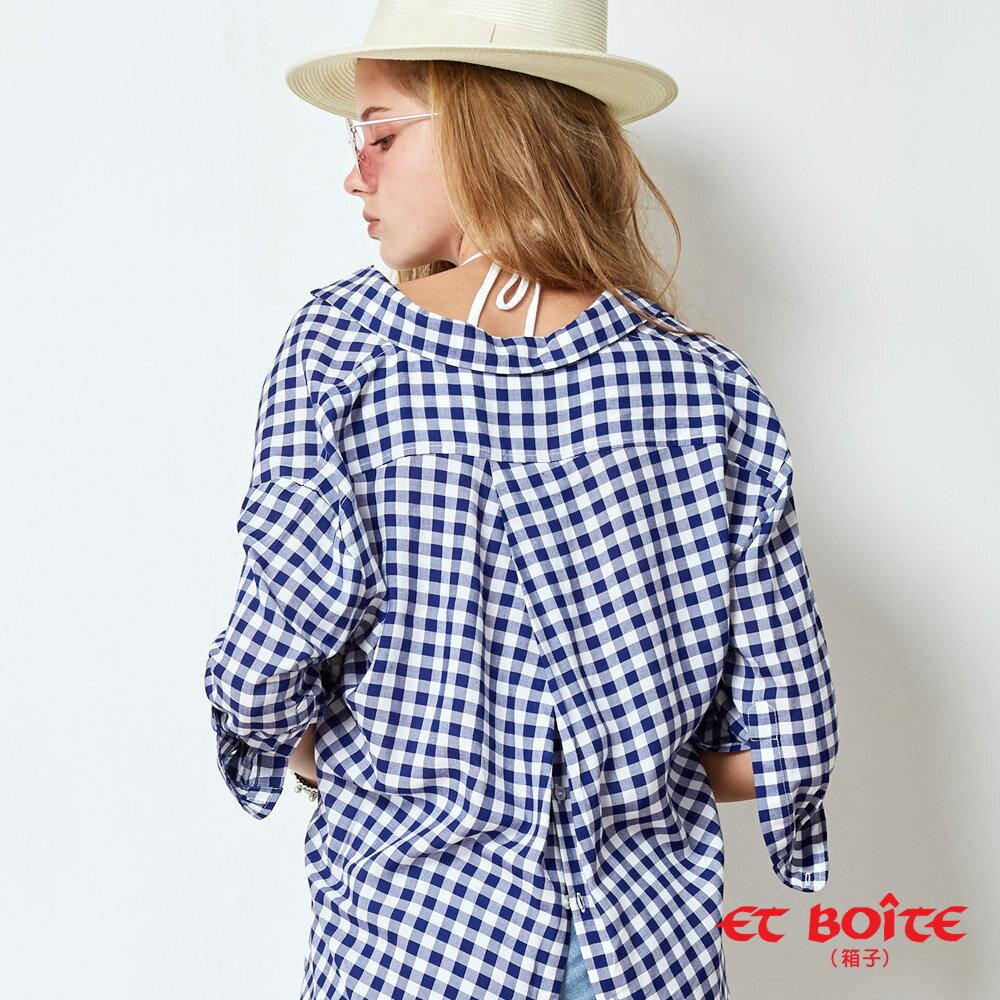 【春夏新品】後開襟剪裁浪漫後綁帶襯衫(藍格) - BLUE WAY  ET BOiTE 箱子 3