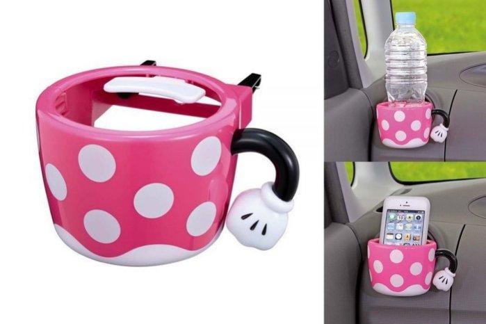 權世界@汽車用品 日本 NAPOLEX Disney 米妮 可愛造型 冷氣出風口夾式 杯架 飲料架 WN-28