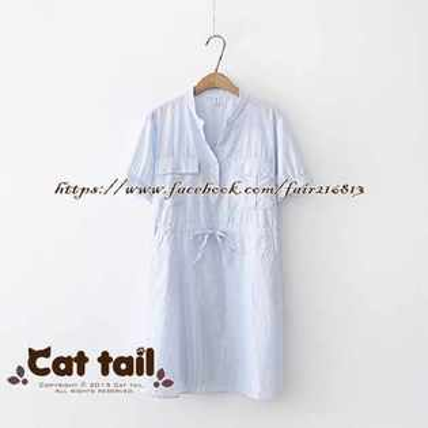 《貓尾巴》TS-0934小清新百搭條紋大口袋短袖連身裙(森林系日系棉麻文青清新)