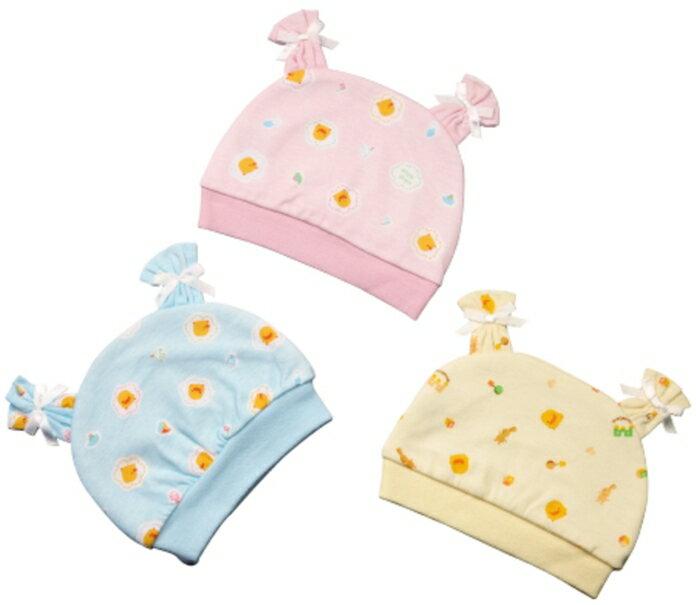 Piyopiyo 黃色小鴨 雙面布嬰兒初生帽 三色
