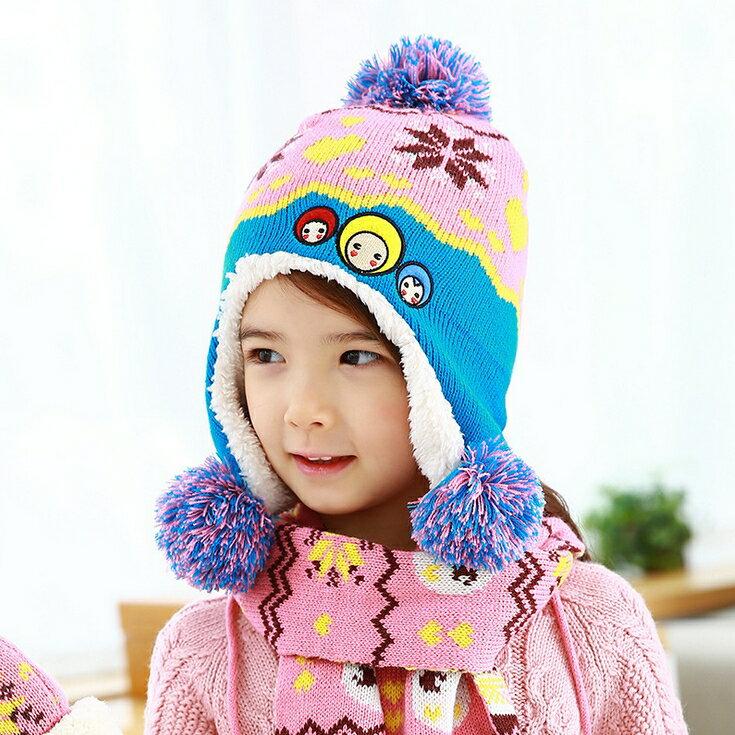 Kofairy◆秋冬保暖雪花大頭娃娃造型拚色毛球兒童毛絨帽+圍巾 2件套 - 粉色