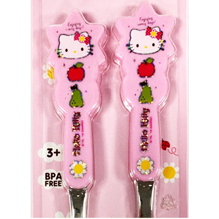 韓國製 HelloKitty 不鏽鋼湯叉組 兒童餐具組 湯匙 叉子 環保餐具 向日葵  韓國進口正版 703310