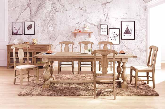 【尚品傢俱】HY-A434-01布蘭頓8尺白橡全實木餐桌