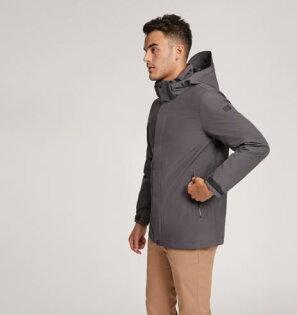 【AIGLE法國】GORE-TEX防水透氣風衣防水大衣男款鐵灰色-AG-8F105-A115