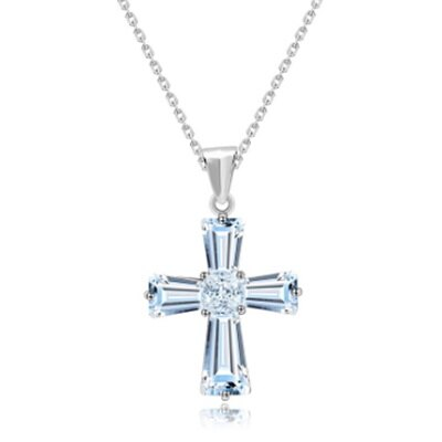 925純銀項鍊 鍍白金鑲鑽吊墜~精緻水晶十字架 情人節生日 女飾品73ct66~ ~~米蘭