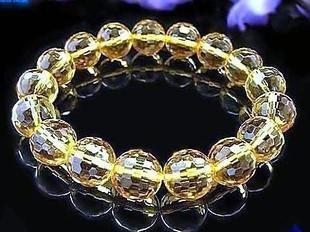 黃水晶128刻面手鏈10mm 水晶手鏈女士手鏈