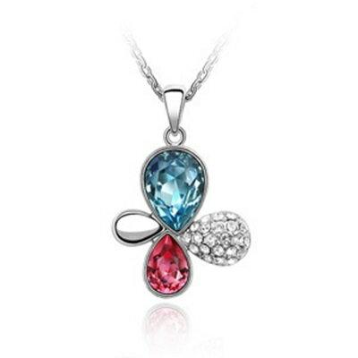 925純銀項鍊水晶吊墜 ~色彩繽紛花朵 生日情人節 女飾品3色73bb380~ ~~米蘭