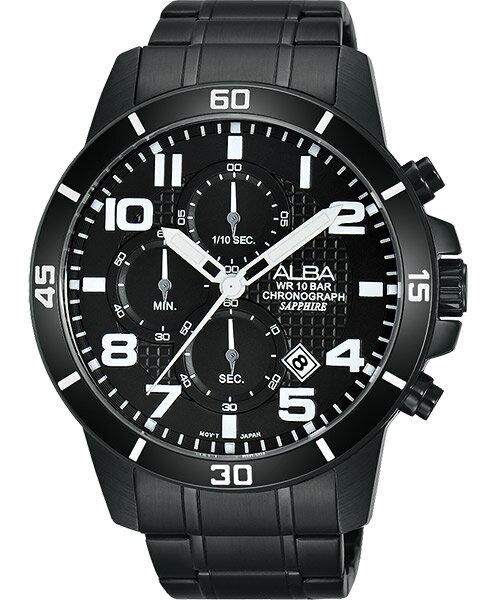 ALBA VD57~X061SD^(AM3255X1^)翻轉時刻計時腕錶  黑面45mm
