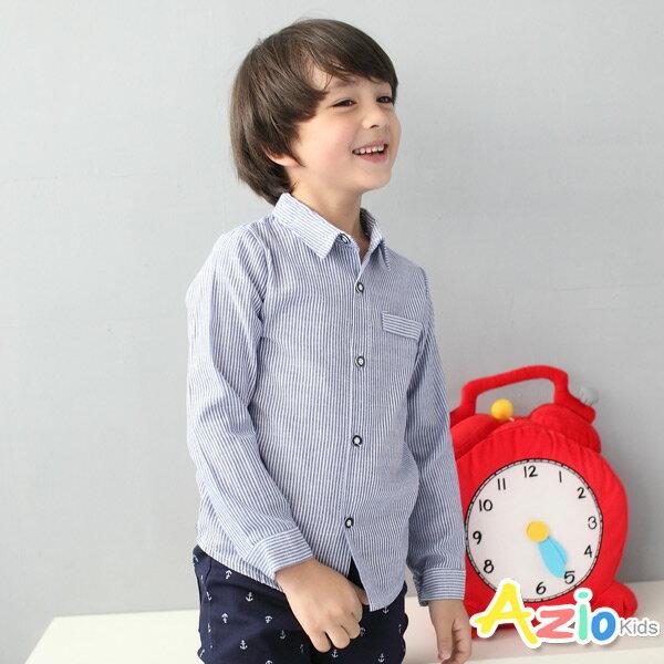 《Azio Kids 美國派 童裝》襯衫 細直紋假口袋長袖襯衫(藍)