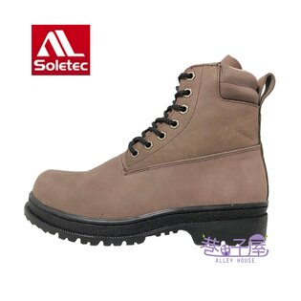 【巷子屋】Soletec超鐵安全鞋-男款牛巴戈高筒安全鞋牛巴戈加厚軟墊[173535]咖啡MIT台灣製造超值價$1380