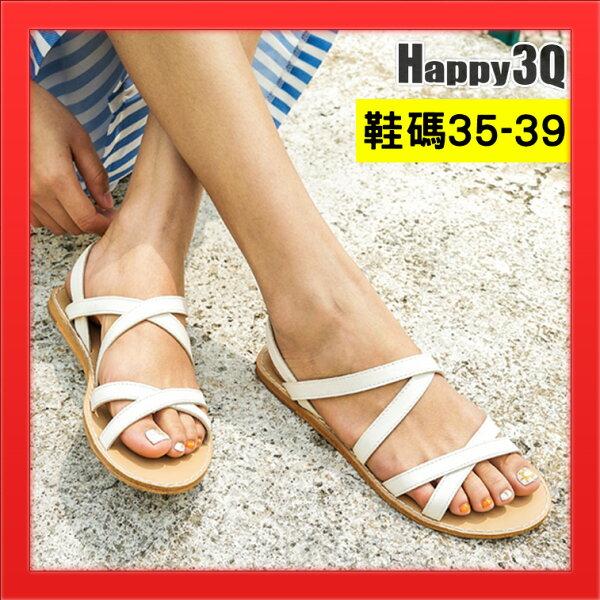 涼鞋平底鞋圓頭涼鞋素面鞋子百搭露腳趾露趾鞋沙灘鞋-白棕黑35-39【AAA4305】