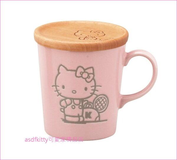 asdfkitty可愛家☆KITTY打網球粉紅色陶瓷馬克杯附木製杯蓋-日本製