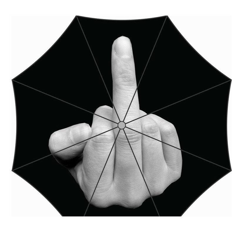法克fuxk!搞怪中指傘 個性傘手指傘 三折晴雨傘創意折疊傘搞怪傘 嘲諷時尚風格