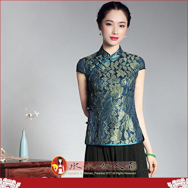 ~水水女人國~~盛夏合奏~優雅中國風~蘭絲~復古純色複合蕾絲改良式 修身短袖旗袍式唐裝上衣