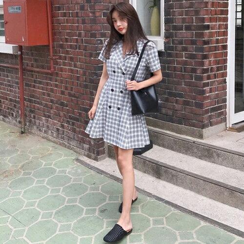 PS Mall 格紋雙排扣短袖西裝連身裙 收腰甜美洋裝【T652】 - 限時優惠好康折扣