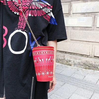 肩背包手拿鍊條包-可愛印花飲料杯造型女包包4色73fc457【獨家進口】【米蘭精品】 2