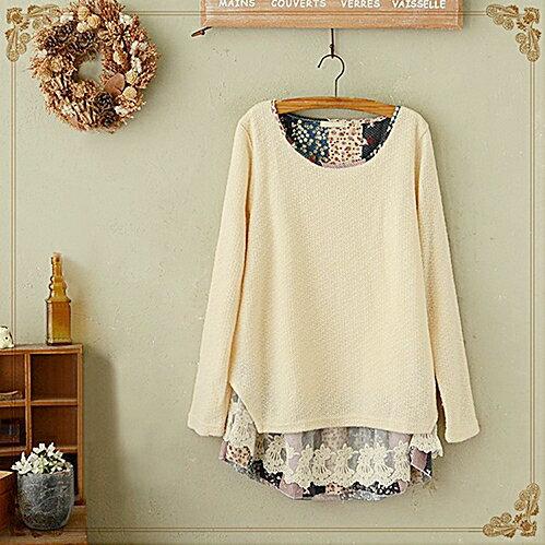 日系森系碎花蕾絲裙擺拼接針織衫 (2色,M~4XL)【OREAD】 1