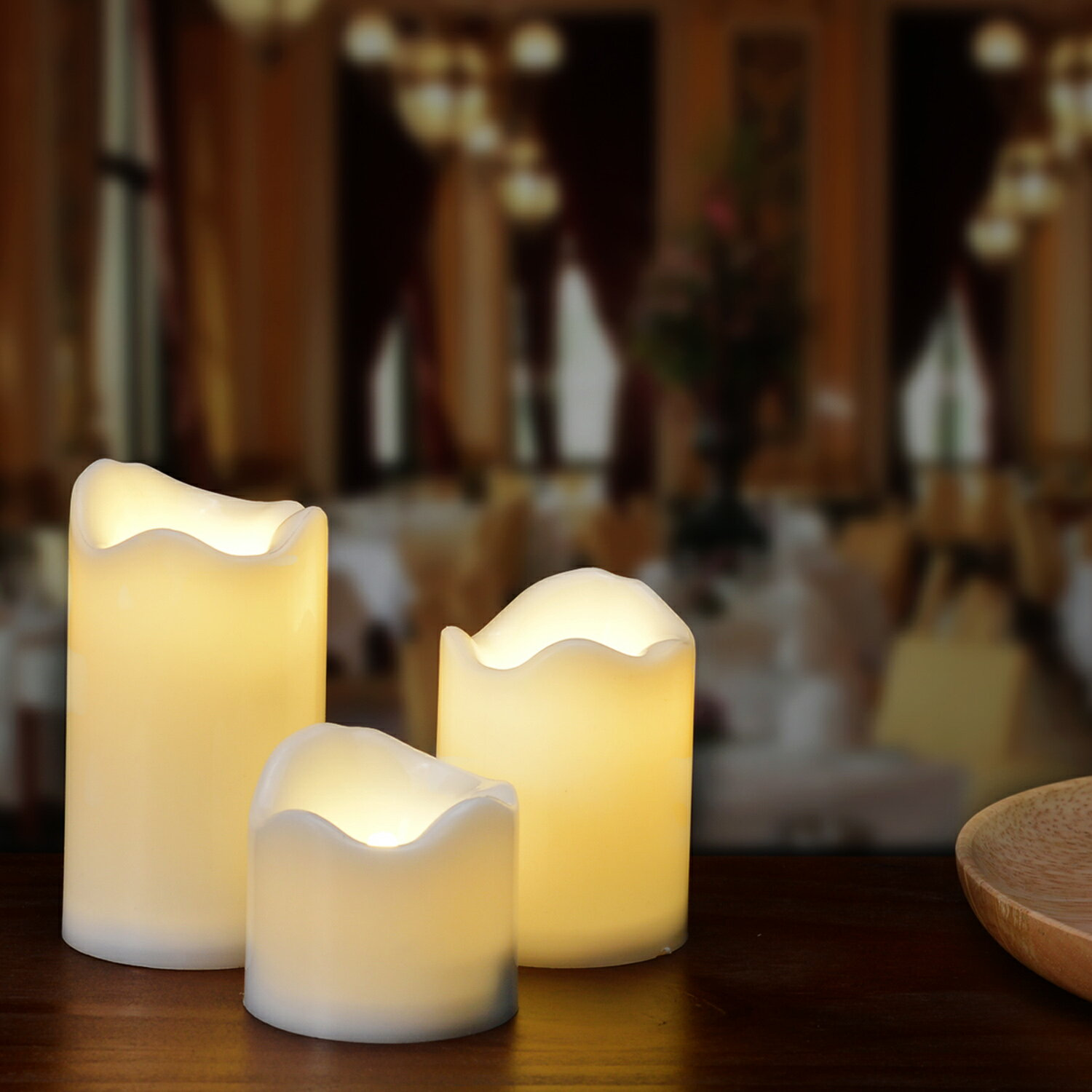 LED Candles Battery Operated Flameless Flickering smokeless 3 PCS/set Premium Votive Candles for Wedding/Party Decorations warm white 2