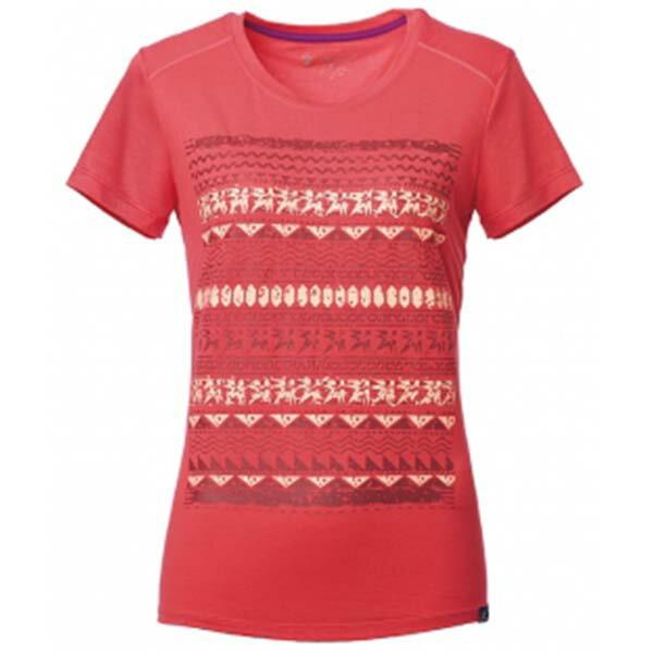 《台南悠活運動家》WILDLAND61607女彈性棉感抗UV印花上衣瑪瑙紅