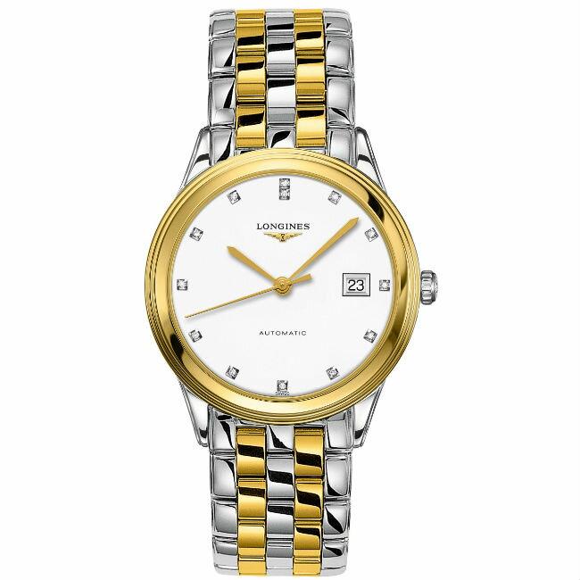 LONGINES 浪琴表 L48743277 雙色旗艦晶鑽經典腕錶/白面38.5mm