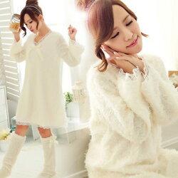 冬季睡衣-超萌蕾絲素色長袖睡衣-睡裙- 泰迪熊毛毛(不含襪套)