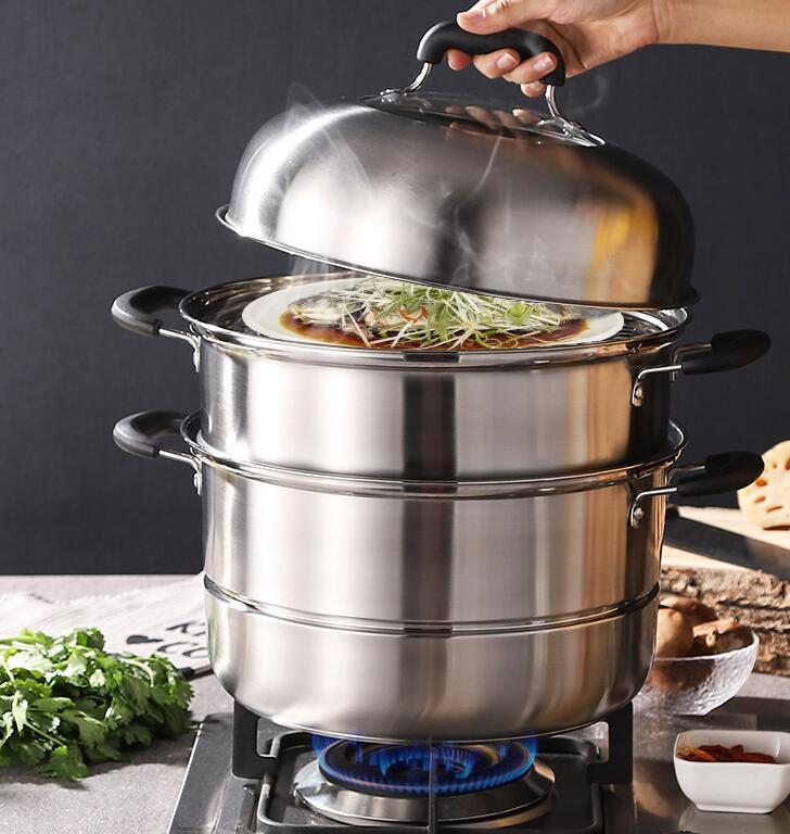 蒸鍋304不銹鋼三層加厚家用小2層籠屜大號蒸籠饅頭蒸魚煤氣電磁爐 AT