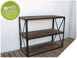 【YUDA】復古工業 LOFT 風格 電視櫃 儲物櫃 金屬材質 烤漆 榆木Wood and Metal Console W CB-00