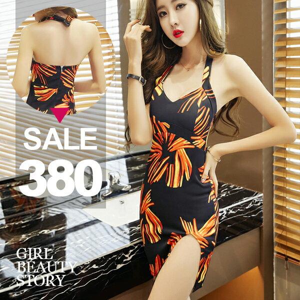 SISI【D8063】熱情如火性感V領掛脖露背縮腰顯曲線包臀開高叉連身裙洋裝