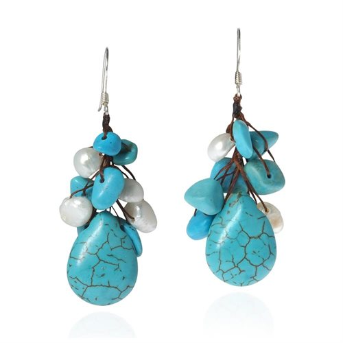 Dangle Cluster Turquoise White Pearl .925 Silver Earrings 0