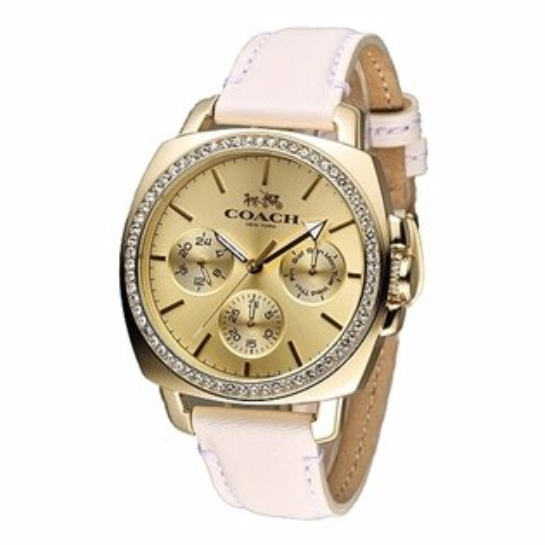 COACH時尚三眼亮麗風格女腕錶金色x白皮40mm14502084