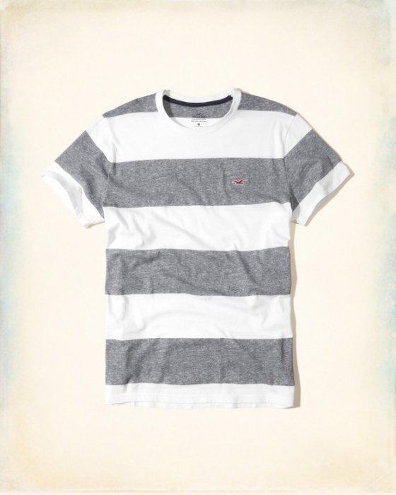 美國百分百【Hollister Co.】T恤 HCO 短袖 T-shirt 海鷗 上衣 條紋 灰白色 S號 I210