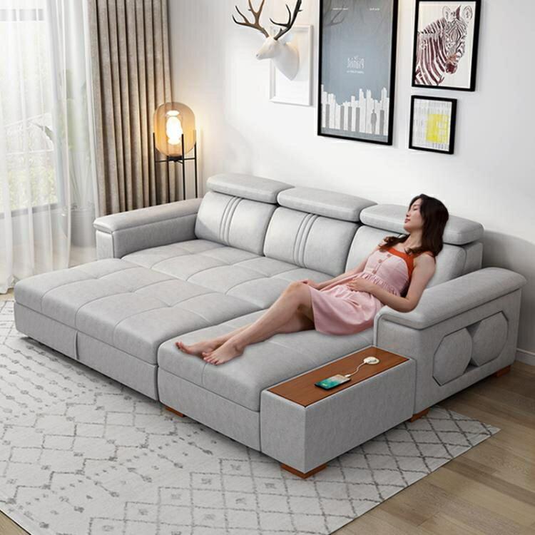 沙發床 小戶型兩用多功能沙發組合貴妃收納儲物科技布沙發床 8號時光特惠 8號時光