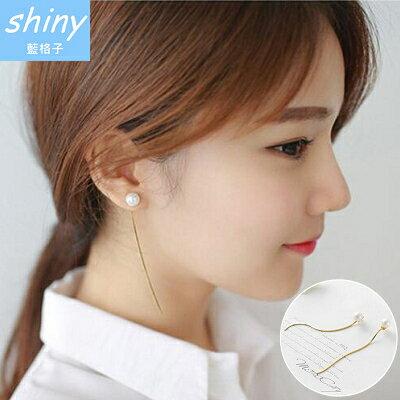 【20A50】shiny藍格子-甜美迷人.簡約珍珠長款流蘇氣質耳環