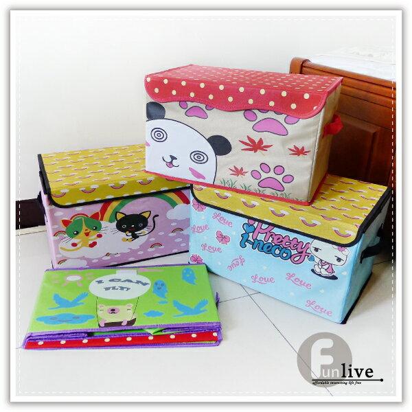 【aife life】卡通掀蓋收納箱/日韓系收納盒/收納桶/置物箱/置物盒/防塵箱/衣物收納