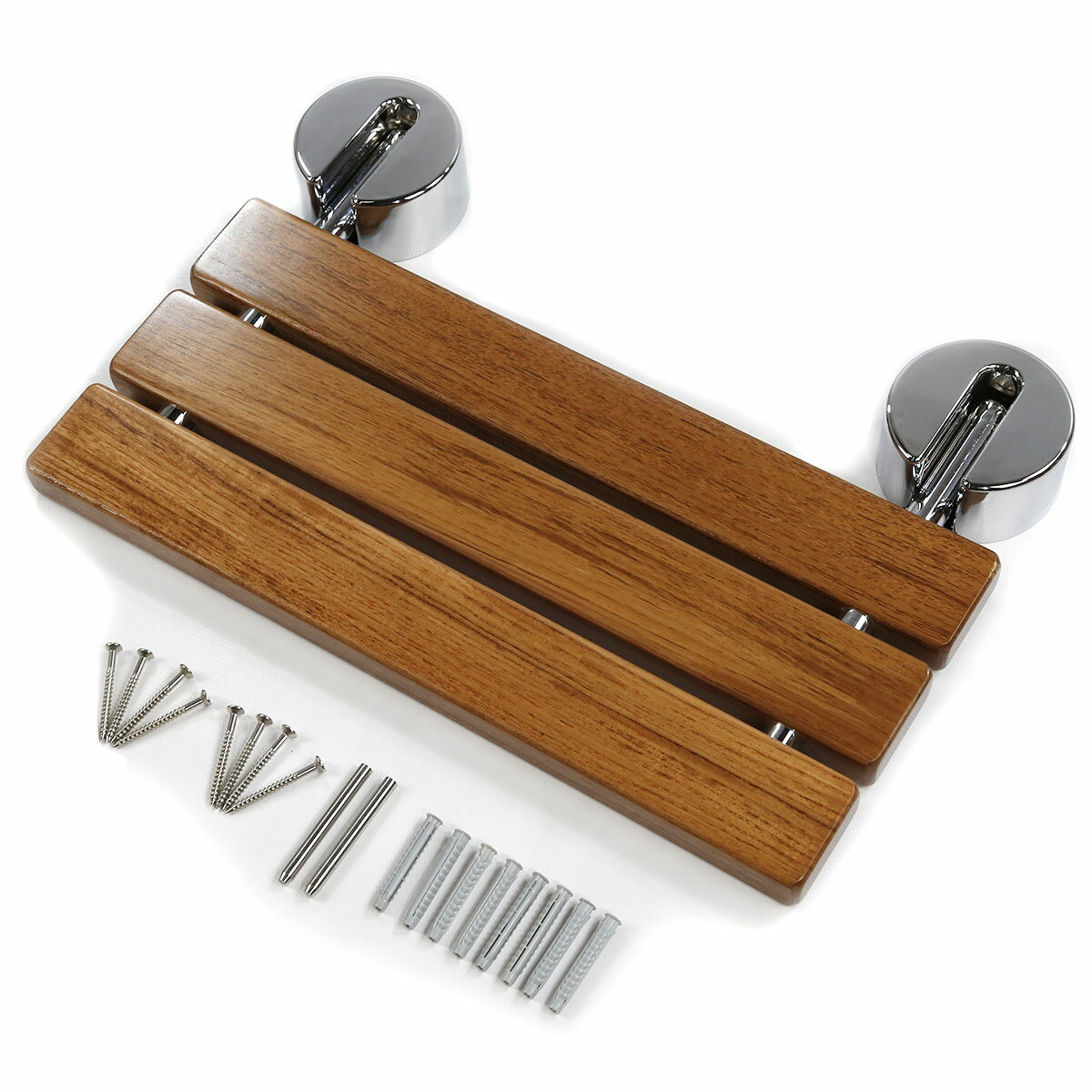"Clevr 20"" Teak Wood Folding Shower Bench"